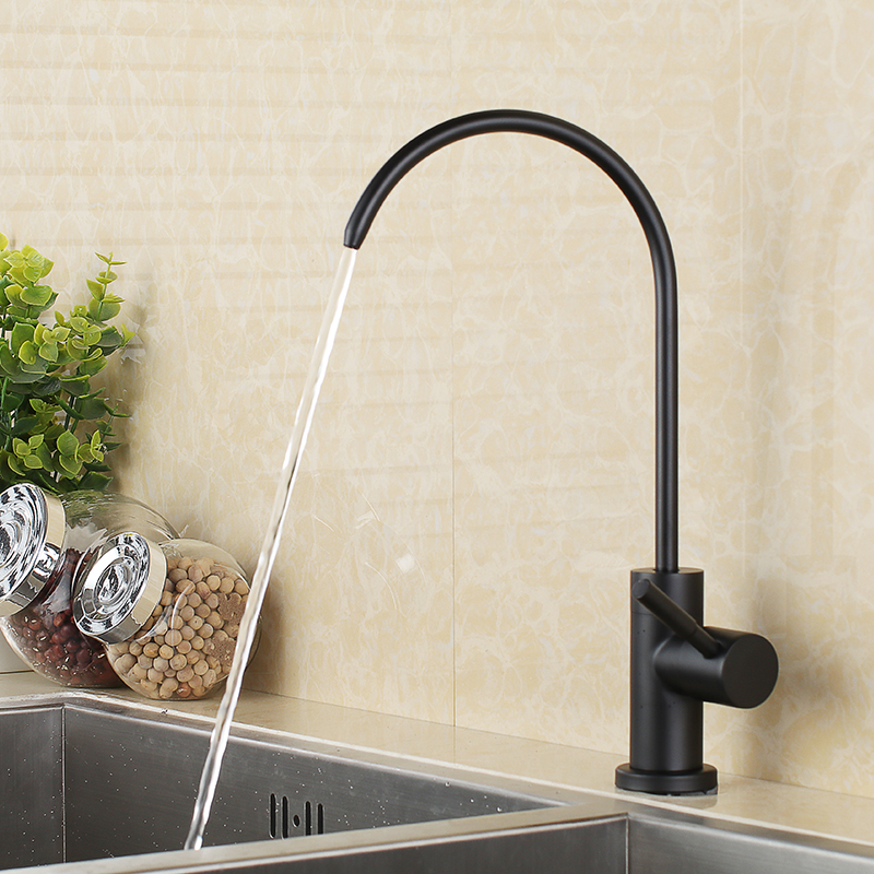 Mat Noir en acier inoxydable Sans Plomb Robinet De Fontaine D'eau Potable Système De Filtration 1/4-Pouces Tube