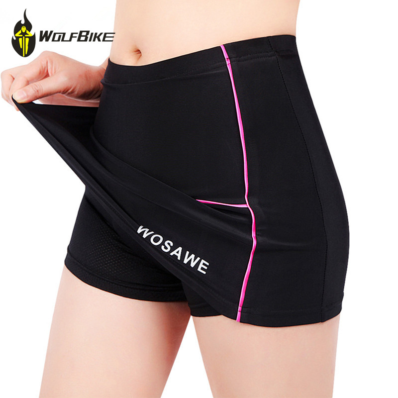 WOSAWE רכיבה נשים מכנסיים קצרים חצאיות 4D מרופד ג 'ל שחור Underpant הלבשה תחתונה אופני גודל S-XL