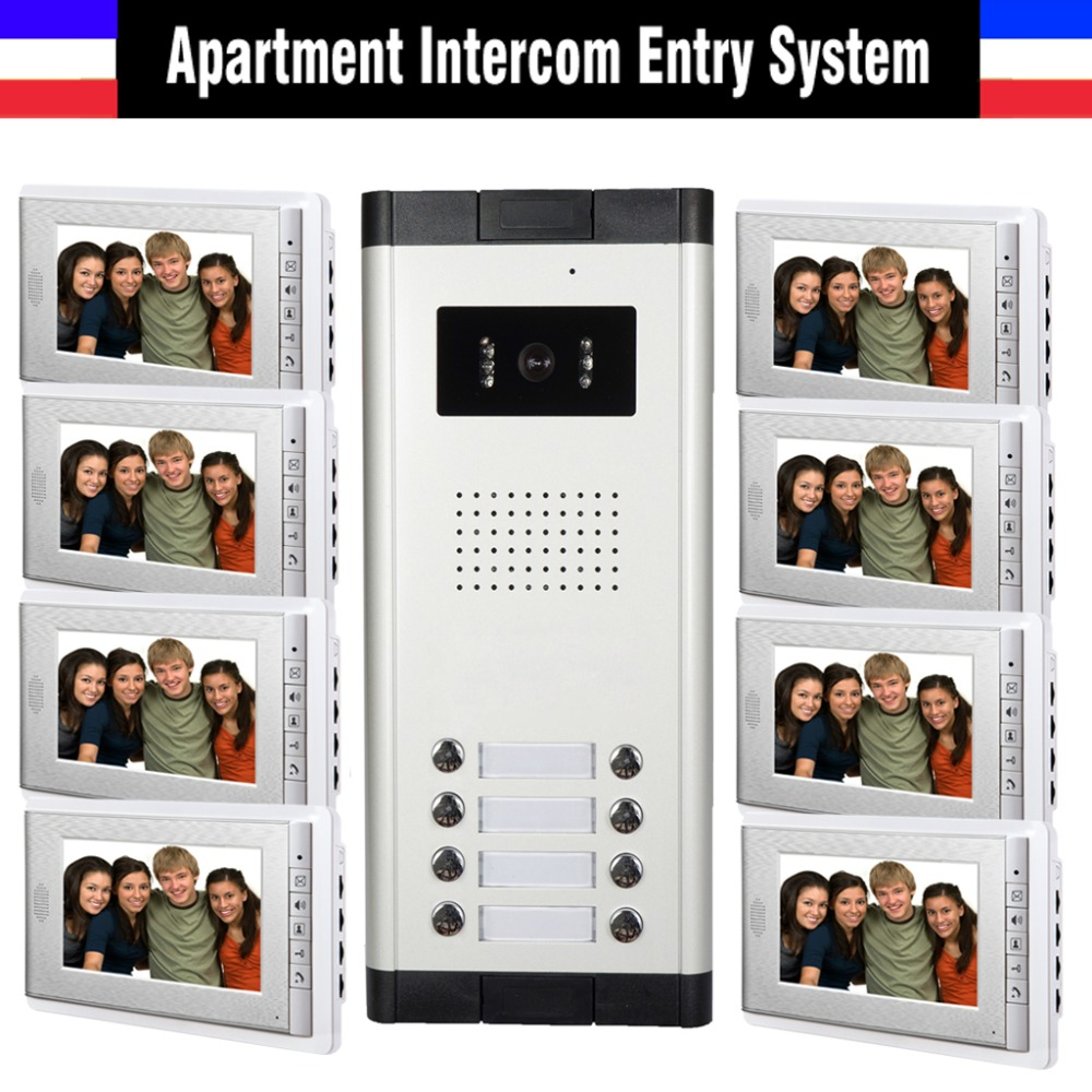 Apartment Intercom System 7 Inch Monitor 8 Units Apartment Video Door Phone Intercom System Wired Home video interphone kit чехол huawei для huawei mediapad t3 8 0 black