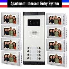 Appartement Système D'interphone 7 Pouce Moniteur 8 Unités Appartement Vidéo Porte Téléphone Système D'interphone Filaire Accueil vidéo interphone kit