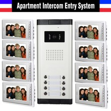 Apartment Intercom System 7 Inch Monitor 8 Units Apartment Video Door Phone Intercom System Wired Home video interphone kit