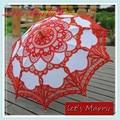 Vintage Deep Red Lace Embroidery Umbrella Cotton Battenburg Wedding Bridal Umbrella Parasol Umbrella Decoration Free Shipping