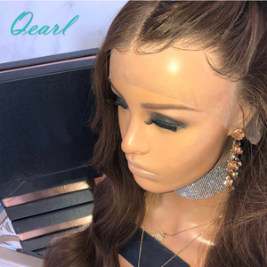 Image 3 - Brown Body Wave Human Hair Full Lace Wigs 180% Brazilian Remy Hair Pre Plucked Middle Part Wavy Wig With Baby Hair Qearl