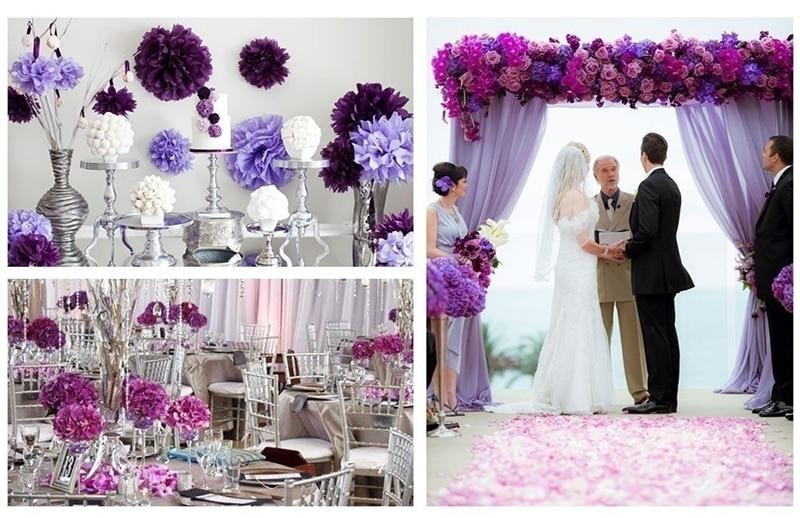 25Pcs Purple Paper Flower Ball Tassel Paper String Flag Birthday Party Set Baby Shower Wedding Party Backdrops Decor