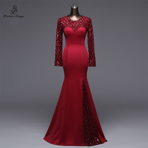 Image 1 - Poems Songs Slit Side Open  Mermaid  Evening Dress prom gowns Formal Party dress vestido de festa Elegant Vintage robe longue
