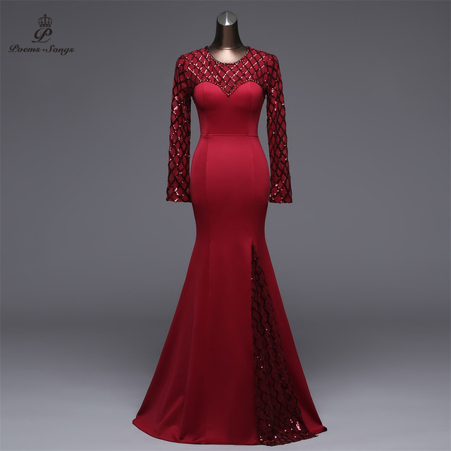 Poems Songs Slit Side Open  Mermaid  Evening Dress prom gowns Formal Party dress vestido de festa Elegant Vintage robe longue