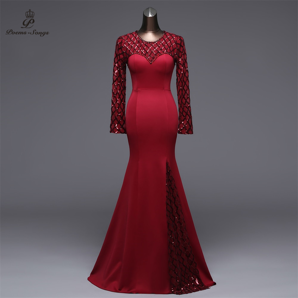 Poems Songs Slit Side Open Mermaid   Evening     Dress   prom gowns Formal Party   dress   vestido de festa Elegant Vintage robe longue