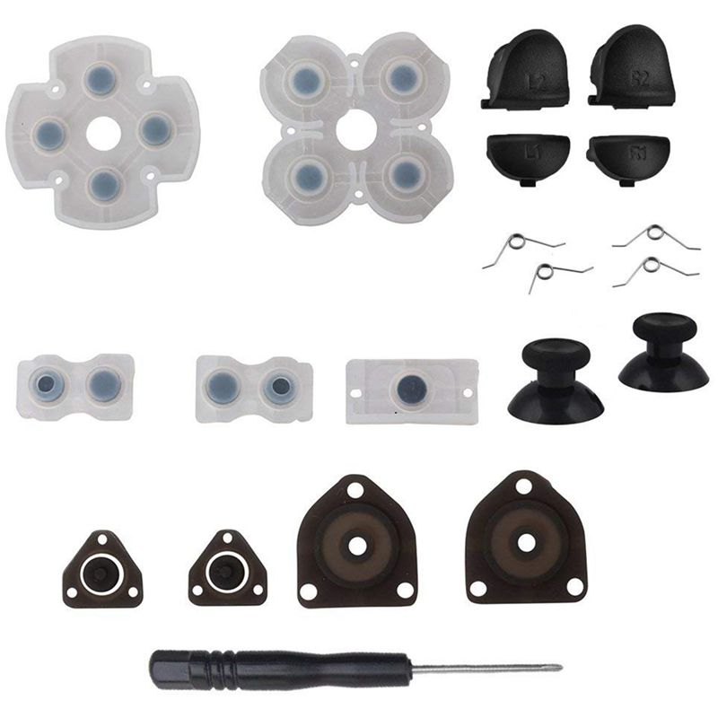 L1 R1 L2 R2 Trigger Buttons + 2 Springs + 2 Joystick Thumb Sticks + 1 Set Conductive Rubber + Screwdriver For PS4 Controller (