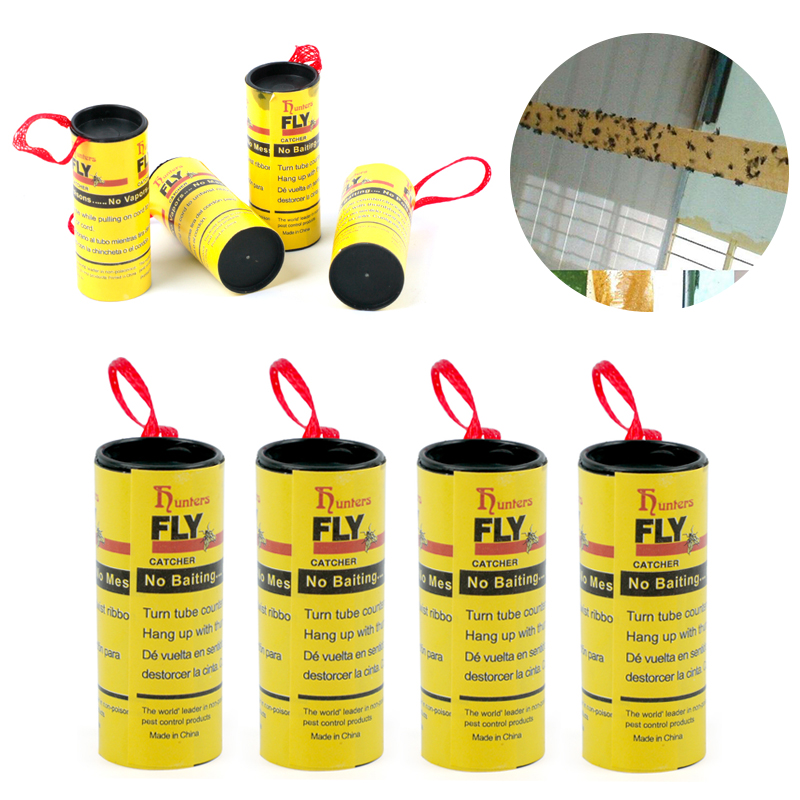 Image 3 - 4 Rolls Fly Glue Paper Pest Control Housefly Killer Insect Bug Catcher Trap Ribbon Strip Sticky Fies Summer Tools-in Traps from Home & Garden