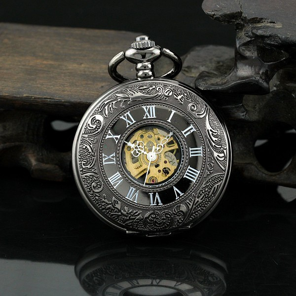 Antique watch necklace pendant mens retro automatic vintage pocket watch mechani
