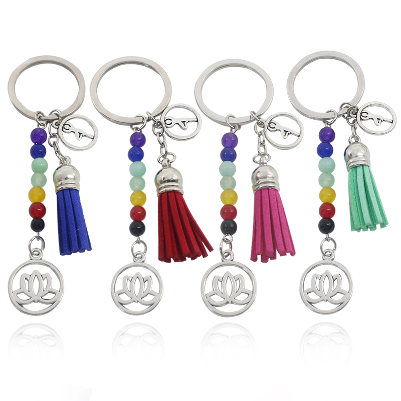Fashion Leather Velvet Tassel Silver Lotus Keychain Seven 7 Chakra OM Yoga Energy Key Chain 8mm Bead Reiki Keychains llavero