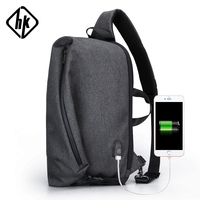 Hk Laptop Bag 15.6 Inch Men Fashion Waterproof Shoulder Bags Anti Theft USB Charging Handbags Notebook School Bags Teenagers Boy