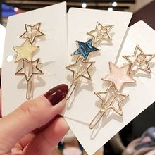Japanese Style Women Girls Metallic Hair Clips Hollow Out Star Circle Snap Bobby Pins Candy Color Side Bangs Hairpins Barrettes