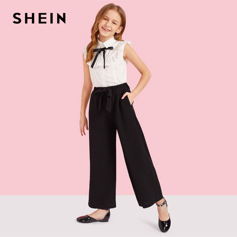 SHEIN Matching Household Outfits Women Ruffle Trim Shirt And Knotted Broad Leg Pants Set Bow Element Sleeveless Shirt Two Piece Matching Household Outfits, Low cost Matching Household Outfits, SHEIN...