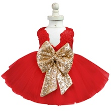 Big Sequined Bow Dress For Newborn Baby Girl First Birthday Outfit Infant Party Dress Children's Costume For Girls Kids Clothes