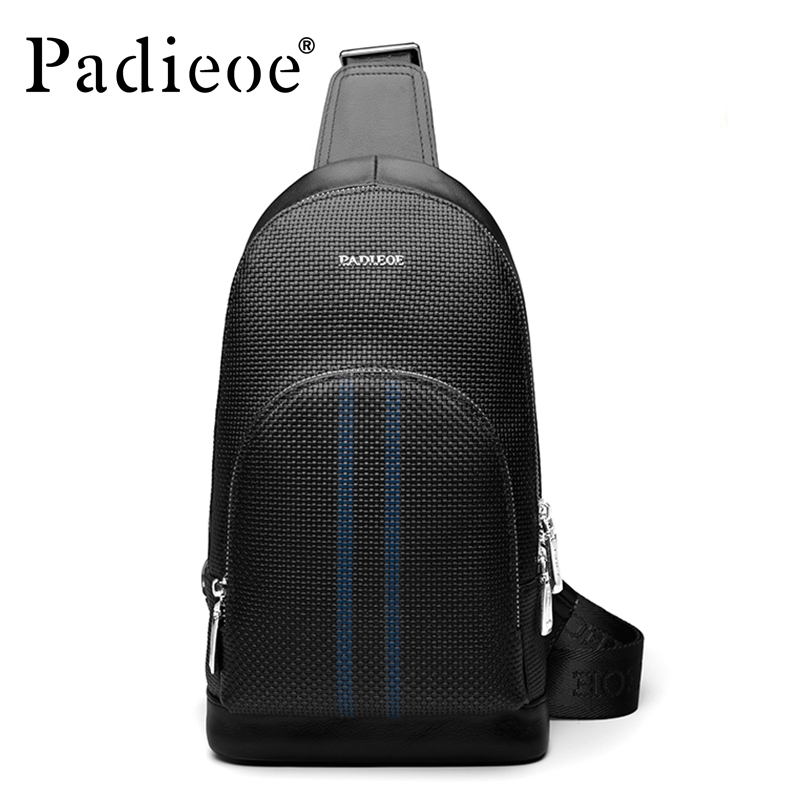 Padieoe Brand 2017 New Fashion Men Chest Packs Messenger Bags Men's Genuine Leather Shoulder Bag Cross Body Bags Free Shipping