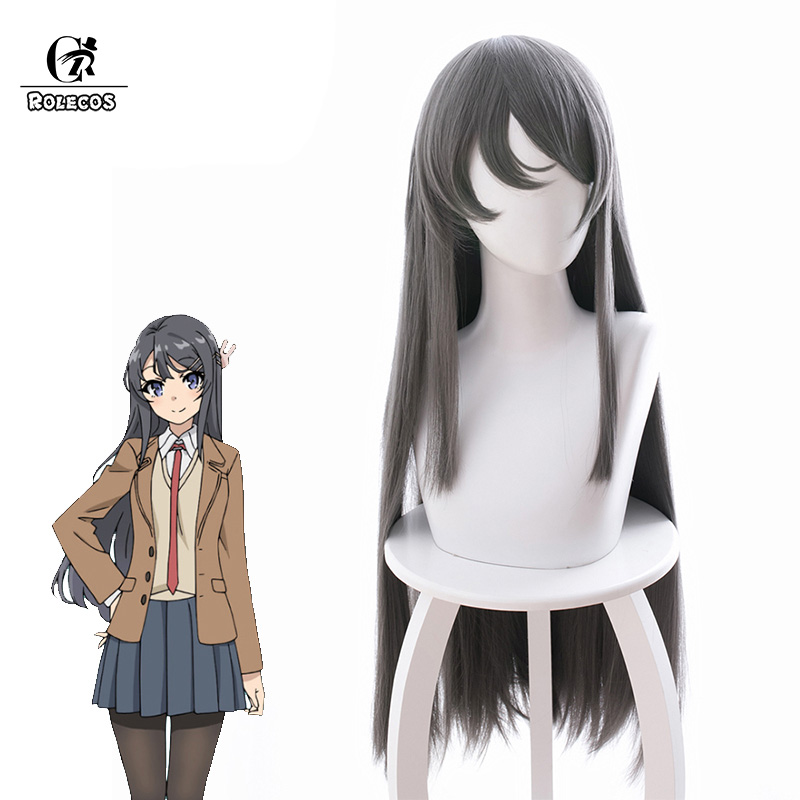 ROLECOS Seishun Buta Yarou wa Bunny Girl Senpai no Yume wo Minai Cosplay Hair Mai Sakurajima Cosplay Headwear 80cm Long Dark Gra