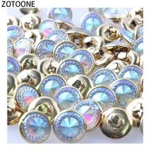 ZOTOONE 50pcs/lot Diamonds Round Shape Metal Buttons for Garment Hat Sewing Accessories DIY Craft Blue Decorations E