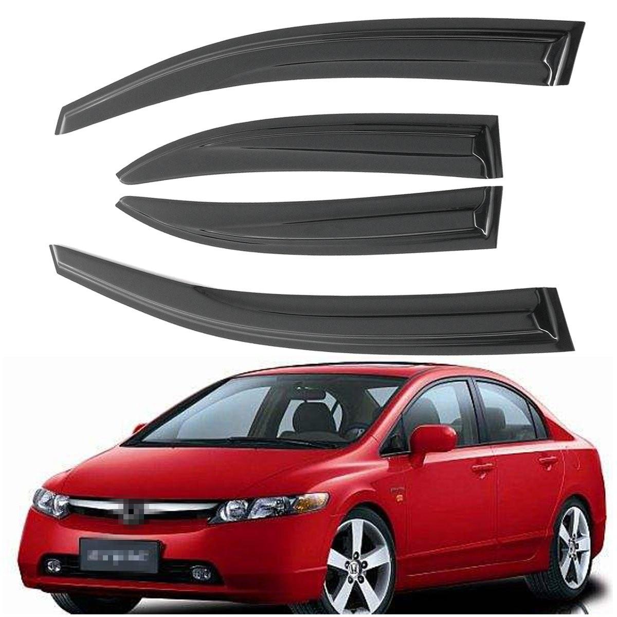 Smoke Tinted Side Rain Guard Sun Shade Window Visors For Honda -Civic 06-11