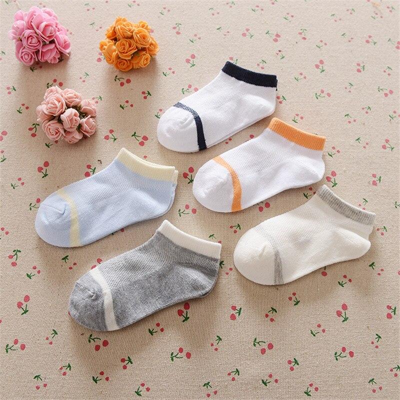 0-12Years Children Socks Summer Mesh Breathable Baby Boys Sport Sock 5pairs/Lot Stripe Cotton Girls Ankle Hose Anklets Kids Sox 6