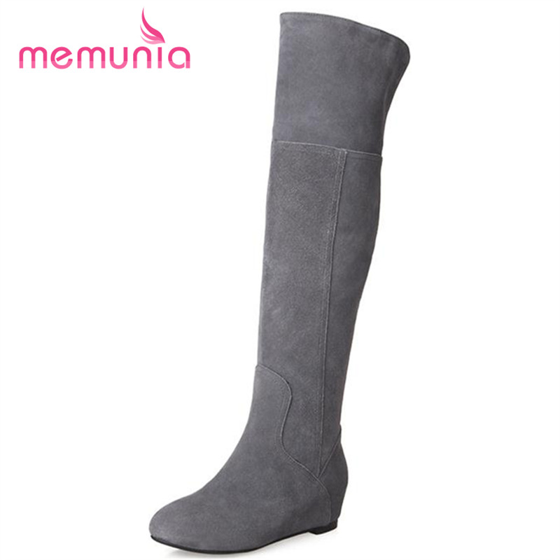 ФОТО MEMUNIA Cow suede leather boots autumn solid slip-on over the knee long boots women height increasing fashion boots