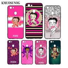 Silicone Phone Bag For OPPO F5 F7 F9 A5 A7 R9S R15 R17 Black Soft Case Pink Betty Boop Style