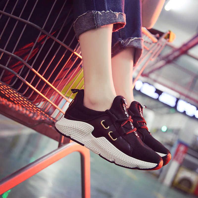 Nữ Giày Lưới Thoáng Khí Đế Giày Chun Harajuku Phẳng Đế Dày Tenis Nêm Trắng giày Đi Bộ nữ