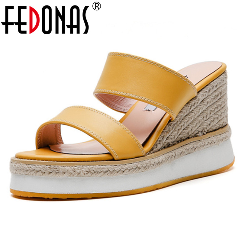 FEDONAS 2019 New Arrival Top Quality Genuine Leather Women Sandals Fashion Sweet Concise Casual Shoes Summer
