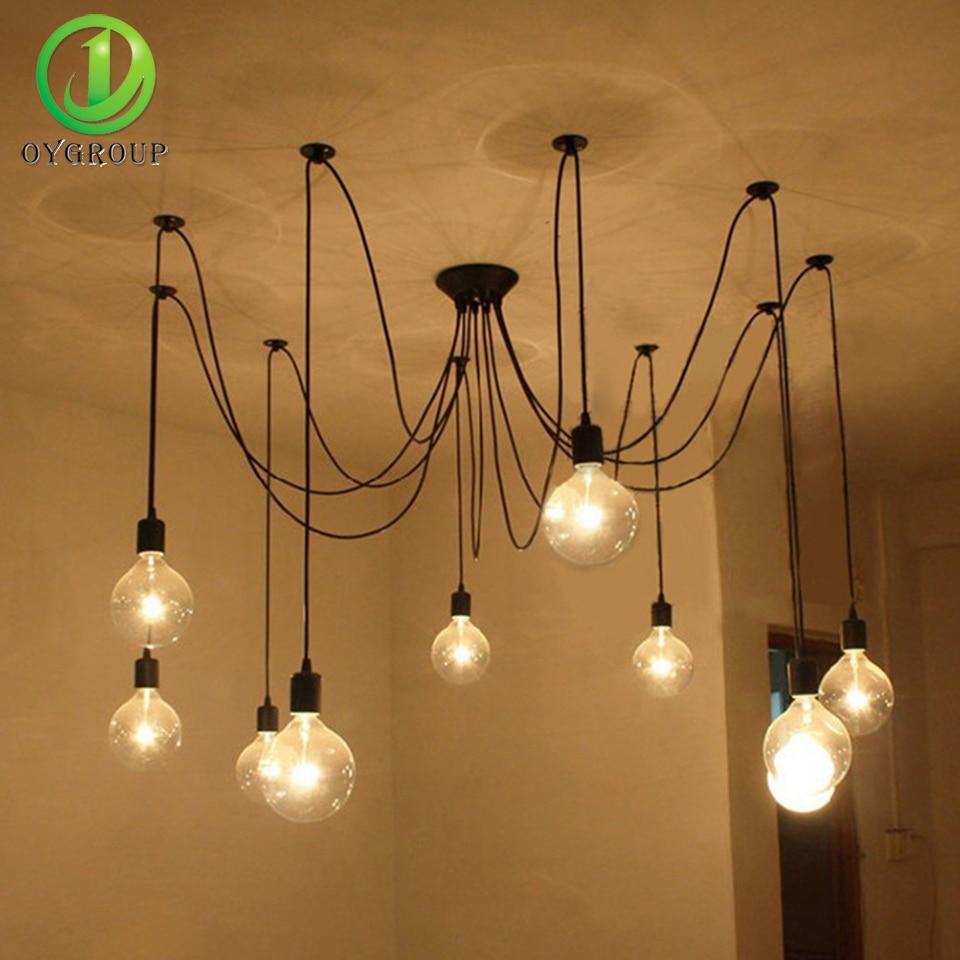 Vintage Loft Spider Chandeliers Nordic Ceiling Lamps 6/8/10/12/14 Heads DIY Home Decoration Lighting Adjustable Lights