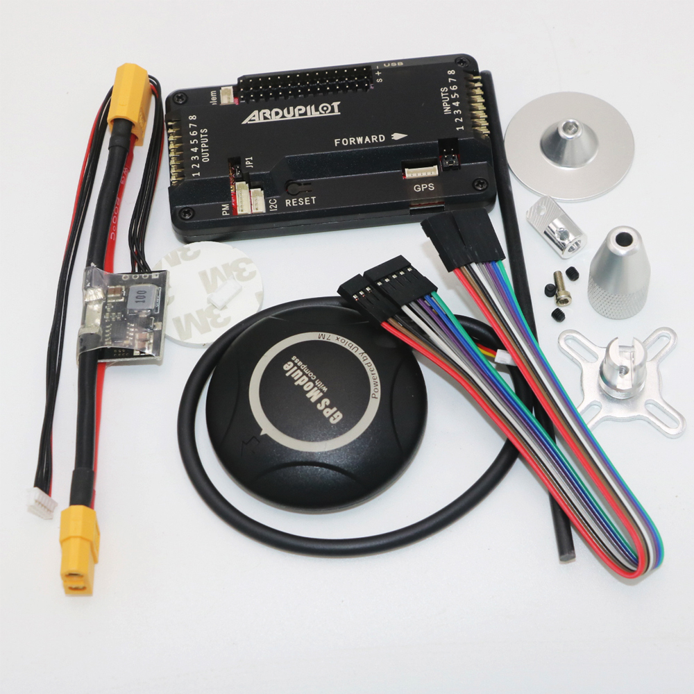 APM 2.8 Flight Controller Board side pin ArduPilot Mega+Ublox NEO-7M GPS+ Antenna Seat +Power Module Cable for RC Airplane Part ublox crius neo 6 v3 1 gps module apm flight control board pixhawk mwc flight controller neo 6m