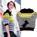 Winter Autumn Women Sweaters Tops 2015 New Fashion European Contrast Color Loose Stripes O-Neck Knitting Women Sweater Pullovers