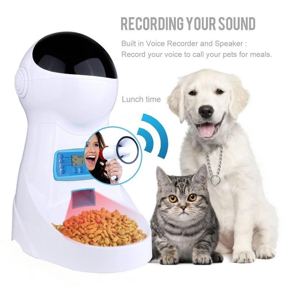 Nicrew Pet U 3L Automatische Tiernahrung Feeder Stimme Aufnahme/LCD Bildschirm Schüssel Für Medium Kleine Hund Katze spender 4 mal Einen Tag-in Katzen Futter- und Wasserversorgung aus Heim und Garten bei  Gruppe 3