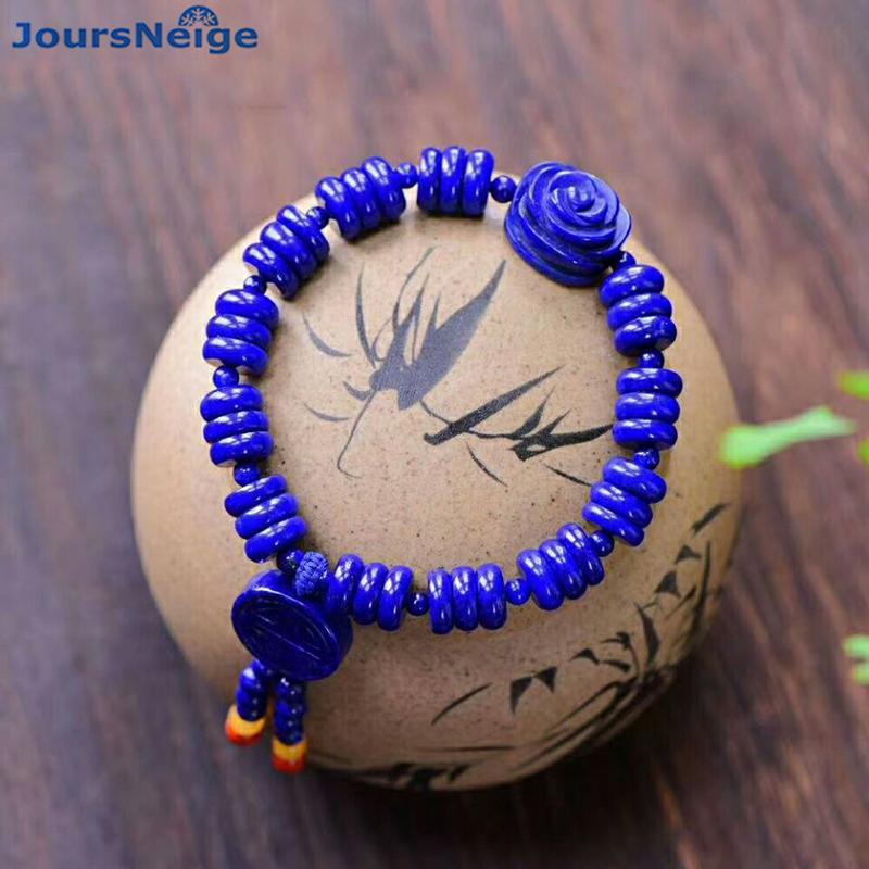 Wholesale JoursNeige Blue Natural Stone Bracelets Plate Beads Flower Bracelets Lucky for Women Original Bracelet Jewelry pure handmade string beads beads bracelets tassels roasted blue flower accessories amber beaded bracelet factory wholesale