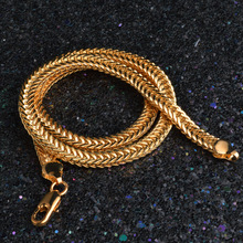 20 Inches 6MM Snake Bone Chain Gold Filled Stainless Steel Double Curb Cuban Link Necklaces for Men woman Jewelry