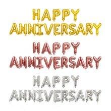 Kuchang 16Pcs 16Inch Gelukkige Verjaardag Brief Folie Ballonnen Aluminium Ballon Anniversary Memorial Day Feestartikelen