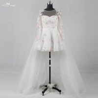 תמונות אמיתיות RSW1136 Yiaibridal 3D פרח ורוד שתי חתיכה נתיקה שמלות כלה