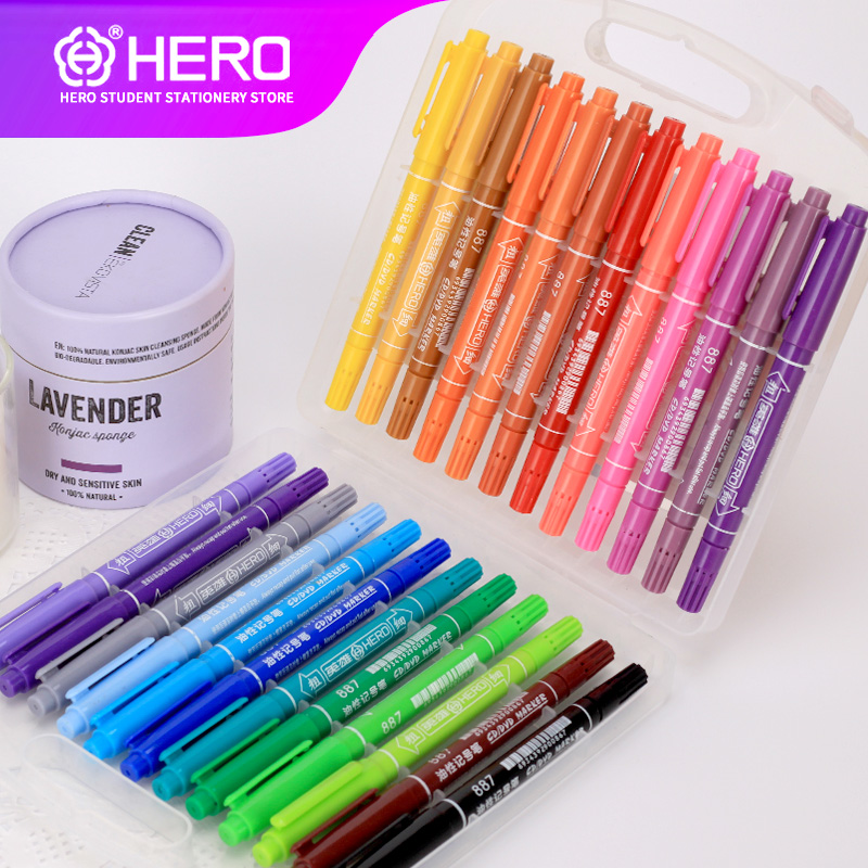 Hero Markers Pen Set 12/24/ Color Animation Sketch Marker Dual Head Drawing Art Brush Pens Alcohol Based with dual head drawing sketch markers set brush manga sketch color marker pen alcohol based pens for school drawing art marker