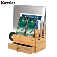 iCozzier 4 Slots Removable Bamboo Watch Stand With Drawer Multi device Charging Station for i Watch,Smartphones,Tablets,Laptops