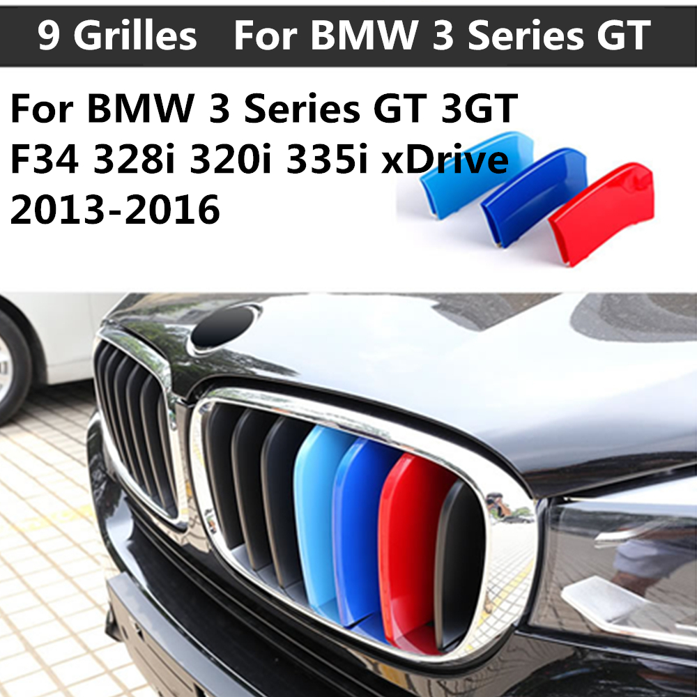 For <font><b>BMW</b></font> <font><b>3</b></font> <font><b>Series</b></font> <font><b>GT</b></font> 3GT F34 328i 320i 335i xDrive with 9 Grilles 2013-2016 3D color Front Grille Trim Strips Cover Stickers image
