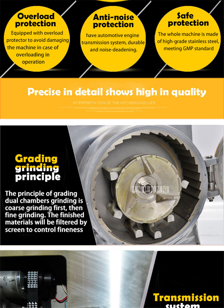 DLF-70 High efficient continuous grinding machine herbal grinder superfine power machine Stainless steel Material 5200r/min 9