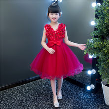 First Communion Dresses Red Girl Appliques Puffy Skirts For Girls Tulle Ball Gown Flower Girl Dresses 2019 TS279(China)