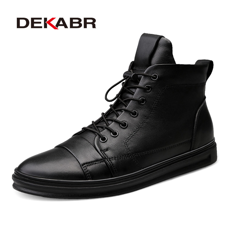 DEKABR Men Boots New Fashion Style Waterproof Men Winter Shoes Men Plus Fur Snow Boots Casual Warm Ankle Boots Size 38~48