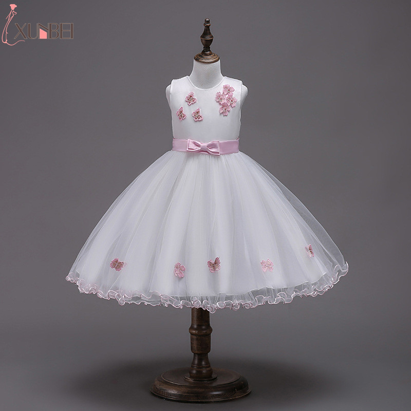 Lovely Ball Gown   Flower     Girl     Dresses   Tulle 2019 Beading Appliqued   Dresses   For   Girls   Kids Prom   Dresses   vestidos infantil de festa