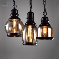 Loft Pendant Light Industrial Style Iron Glass Pendant Lamps Bar Restaurant Light Retro Lamparas Colgantes Luminaire
