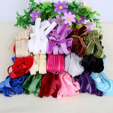 "3/8 "" 10mm Multi Colors Sparkle nylon single faced velvet ribbon velour webbing headband Hair band accessories white lace fabric(China)"