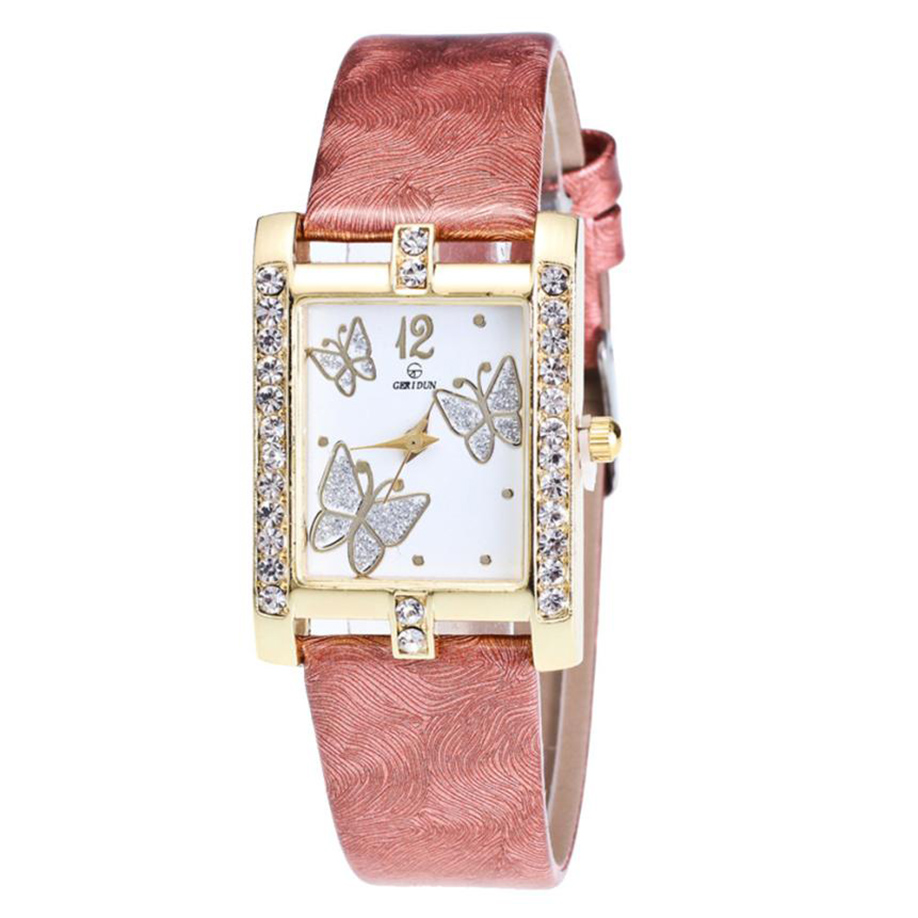 Three Butterfly Leather Strap Watch  StopBe