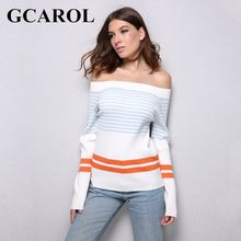 GCAROL New Arrival Slash Neck Women Sexy Sweater Striped Color Sweater Stretch Knitting Tops Warm Knitted Tops(China)