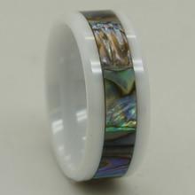 """8 מ""""מ רוחב טבעית של פרל מעטפת שיבוץ טבעת קרמיקה לבנה 1 pc הוכחת מאפס"""