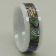 8mm width natural mother of pearl shell inlay scratch proof white ceramic ring 1pc