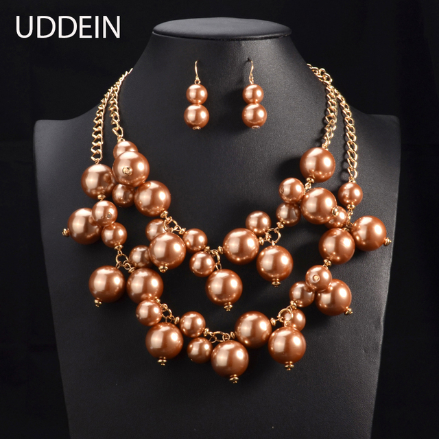 UDDEIN Nigerian India Wedding Jewelry Sets Big Pearl Statement Choker Necklace Chunky Chain Bridal African Beads